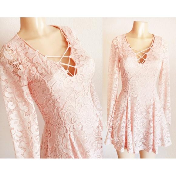 4b4de1fed85c Forever 21 Dresses   Last One Blush Pink Laced Up Lace Skater Dress ...